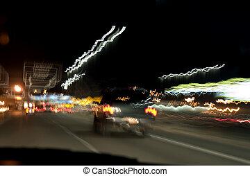 terminal, lumières, aéroport, nuit, signe