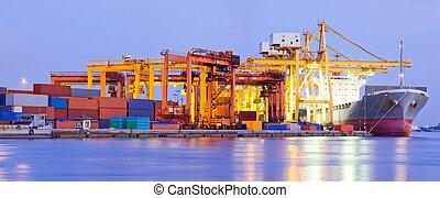 terminal, panorama, industrie, port