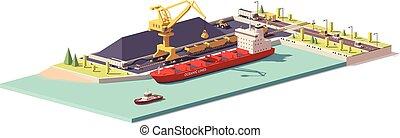 terminal, poly, masse, charbon, vecteur, bas, porteur