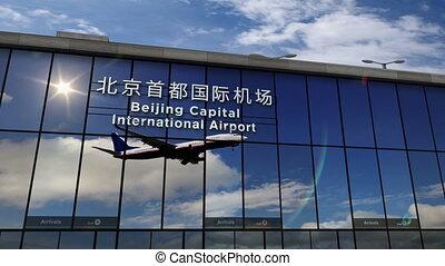 terminal, porcelaine, capital, avion, reflété, atterrissage...
