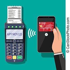 terminal, pos, wpłata, transakcja, smartphone