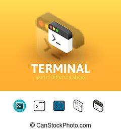terminal, różny, styl, ikona