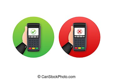 terminal., rechazado, acción, aprobado, payment., vector, ...