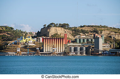 terminal, river., industriebedrijven, silos