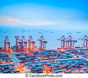 terminal, shanghai, behållare, skymning