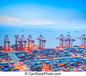 terminal, shanghai, contenedor, anochecer