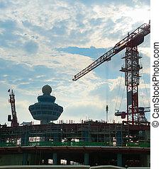 terminal, site., aéroport, construction, singapour