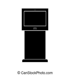 Terminal stand with touch screen black color icon .