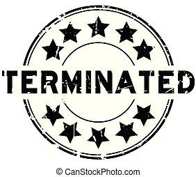 terminated, grunge, postzegel, rubber, zwarte achtergrond, zeehondje, ster, witte , ronde, pictogram
