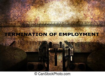 Termination of employment form on typewriter
