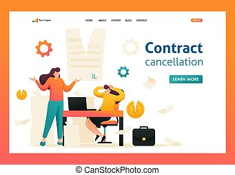 Termination of the contract, broke the agreement partners. Flat 2D character. Landing page concepts and web design