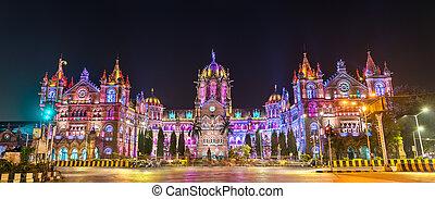 terminus, 世界, shivaji, 相続財産, chhatrapati, mumbai, インド, サイト, maharaj, ユネスコ