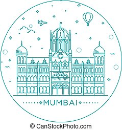 terminus, mumbai, chatrapati, イラスト, ベクトル, 駅, 鉄道, shivaji
