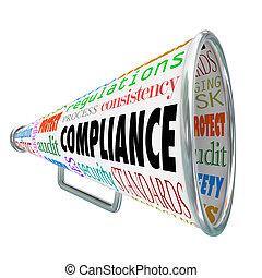 terminy, rewizja, policies, bullhorn, proces, spełnienie, ...