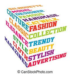 terminy, sześcian, fason, barwny, typografia