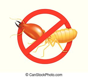 termite in prohibited red circle sign isolated on white background, logo insects termite, termite prohibition symbol for flat icons info graphic, illustration termites icon for chemical spray products