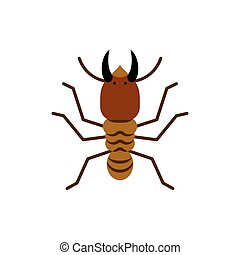 Termite insect wood single flat color vector icon
