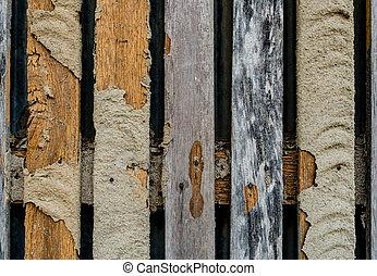 Termite nest damage wooden fence