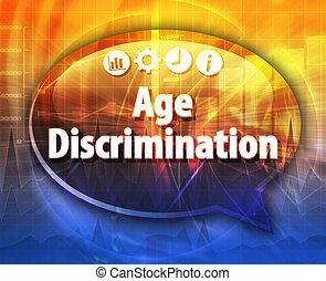 termo, negócio, discriminação, idade, ilustração, borbulho...