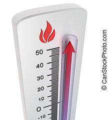 termometro, :, alzarsi, di, temperatura