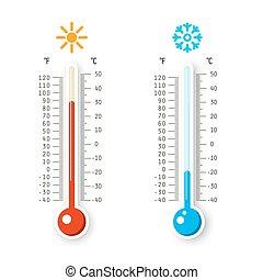 termometry, odizolowany, icons., tło., gorący, wektor, pogoda, przeziębienie, biały