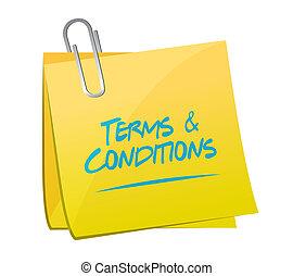 termos, memorando, ilustração, desenho, poste, condições