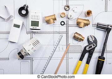 termostat, hos, arbejde, redskaberne, på, blueprints