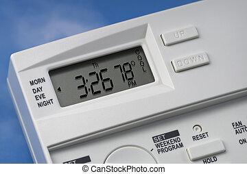termostat, niebo, v1, stopnie, 78, chłodny