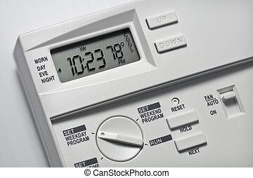 termostato, 78, grados, fresco
