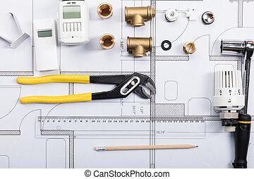 termostato, com, trabalho, ferramentas, ligado, desenhos técnicos