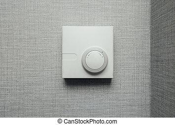 termostato, control climático, primer plano, vista