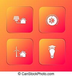 termosztát, fokozatokra osztás, állhatatos, bizottság, nap-, felteker, csillogó épület, gumó, sapka, icon., vektor, turbina