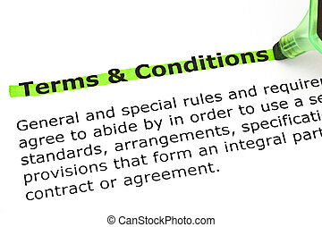 Terms and Conditions highlighted in green - Dictionary...