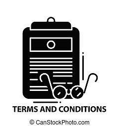 terms and conditions icon, black vector sign with editable strokes, concept illustration