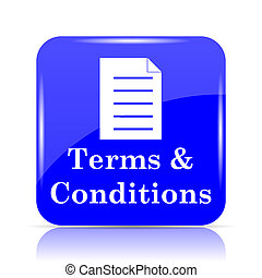 Terms and conditions icon, blue website button on white ...