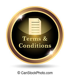 Terms and conditions icon. Internet button on white ...