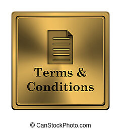 Terms and conditions icon - Square metallic icon with carved...