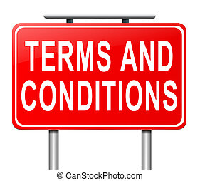 Terms and conditions. - Illustration depicting a sign with a...