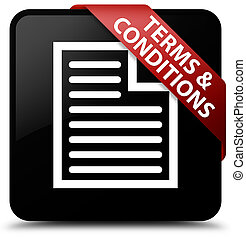 Terms and conditions (page icon) black square button red ribbon in corner
