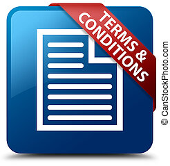 Terms and conditions (page icon) blue square button red ribbon in corner