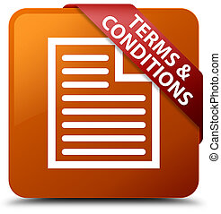 Terms and conditions (page icon) brown square button red ribbon in corner