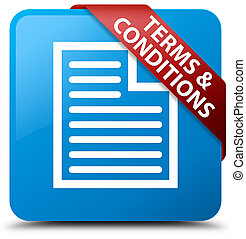 Terms and conditions (page icon) cyan blue square button red ribbon in corner