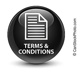 Terms and conditions (page icon) glassy black round button