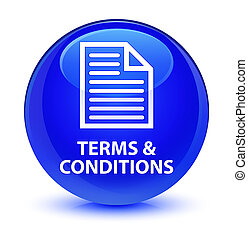 Terms and conditions (page icon) glassy blue round button