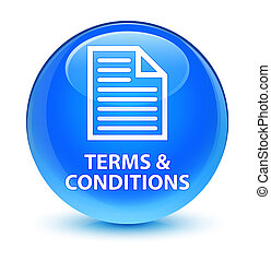 Terms and conditions (page icon) glassy cyan blue round button