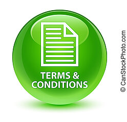 Terms and conditions (page icon) glassy green round button
