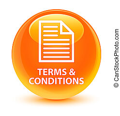 Terms and conditions (page icon) glassy orange round button