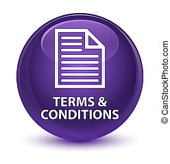 Terms and conditions (page icon) glassy purple round button