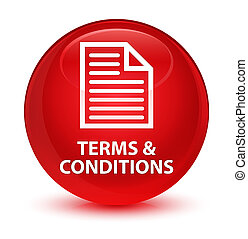 Terms and conditions (page icon) glassy red round button