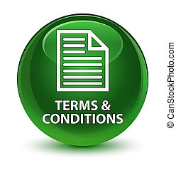 Terms and conditions (page icon) glassy soft green round button